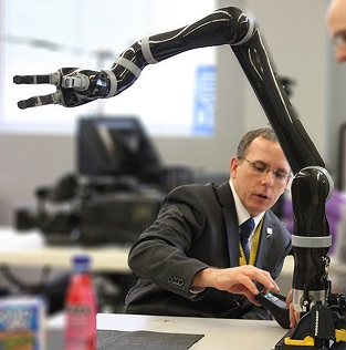 cooper and robotic arm